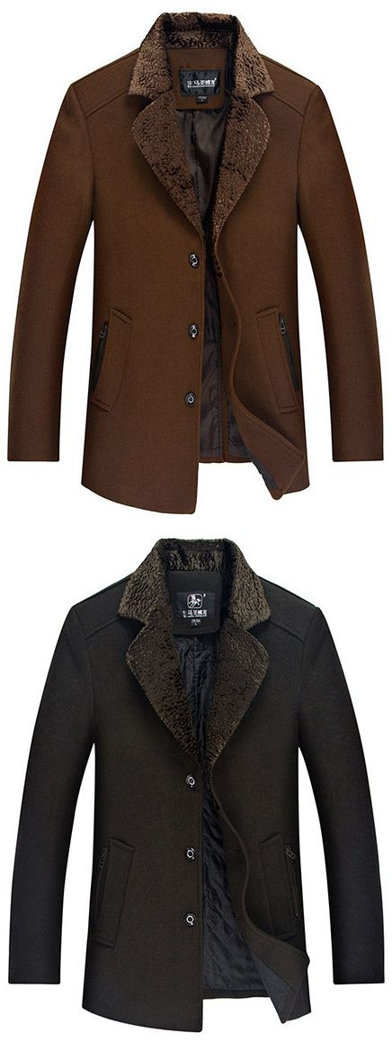 US$55.88 Men Casual Thicken Peacoat Mid Long Wool Notch Collar Trench Coat#fashion #jackets #Black #winter