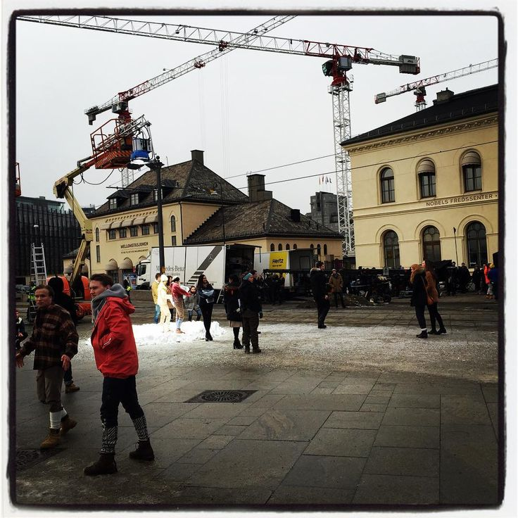 Feb 5 2016: @ b.them (instagram) Filming in Oslo (Rådhusplassen Town Square) # nesbø # snowman #oslove #visitnorway #makingmovie #movie #jonesbo