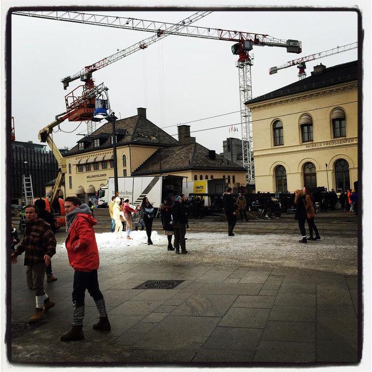 Feb 5 2016: @ b.them (instagram) Filming in Oslo (Rådhusplassen Town Square) # nesbø # snowman #oslove #visitnorway #makingmovie #movie #jonesbo
