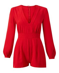 Madam Rage Red Long Sleeve Playsuit  | New Look