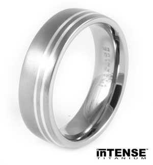 Fancy Mens Brushed Titanium Wedding Ring with Twin Silver Inlay Titanium Wedding Ring
