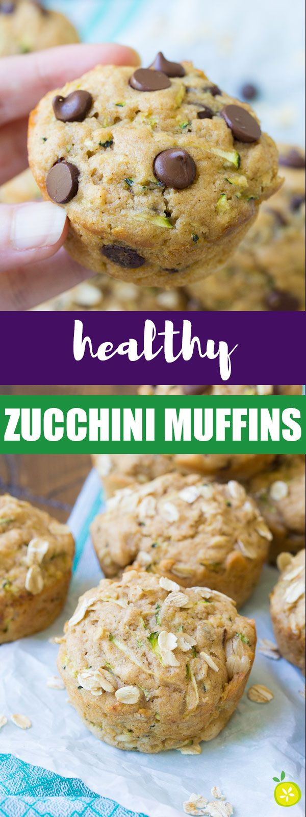 Healthy Zucchini Muffins, made with chocolate chips or oats. Buttermilk adds amazing flavor and makes these muffins so tender!   www.kristineskitchenblog.com