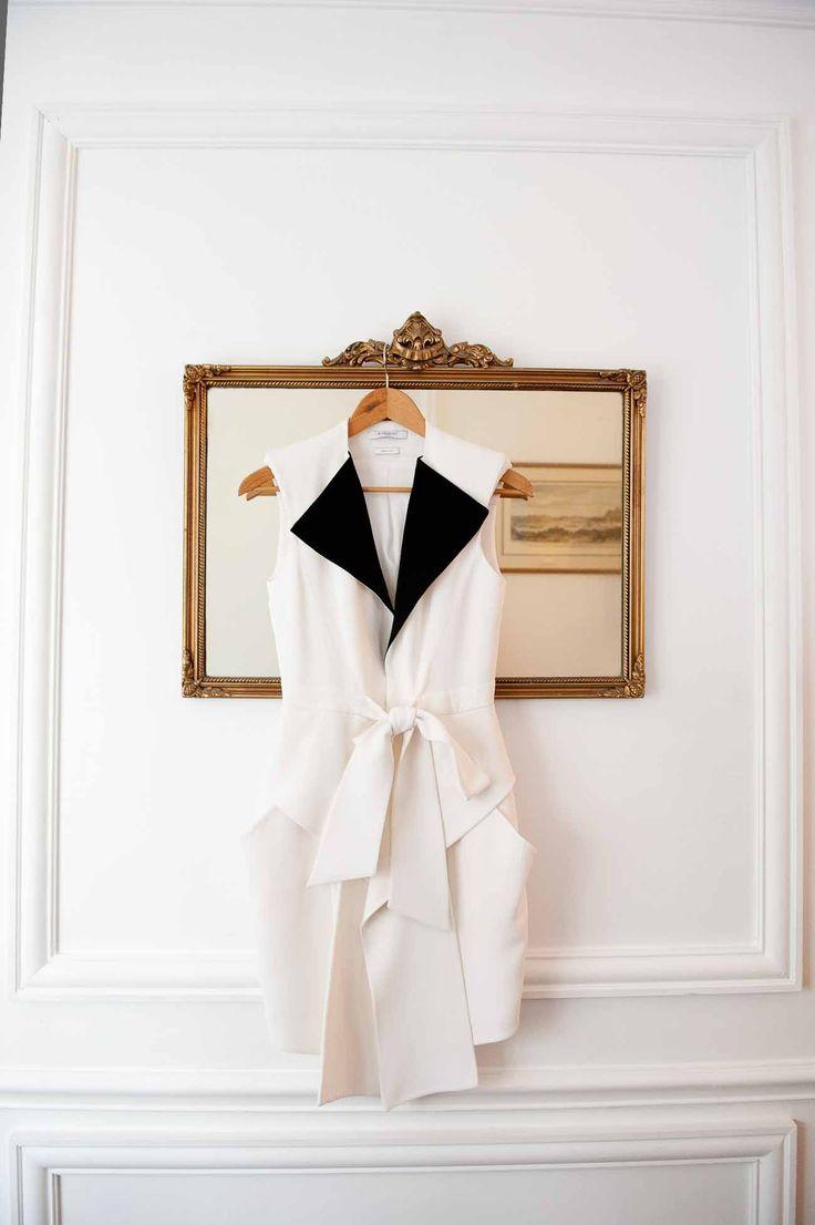 the perfect white + black dress