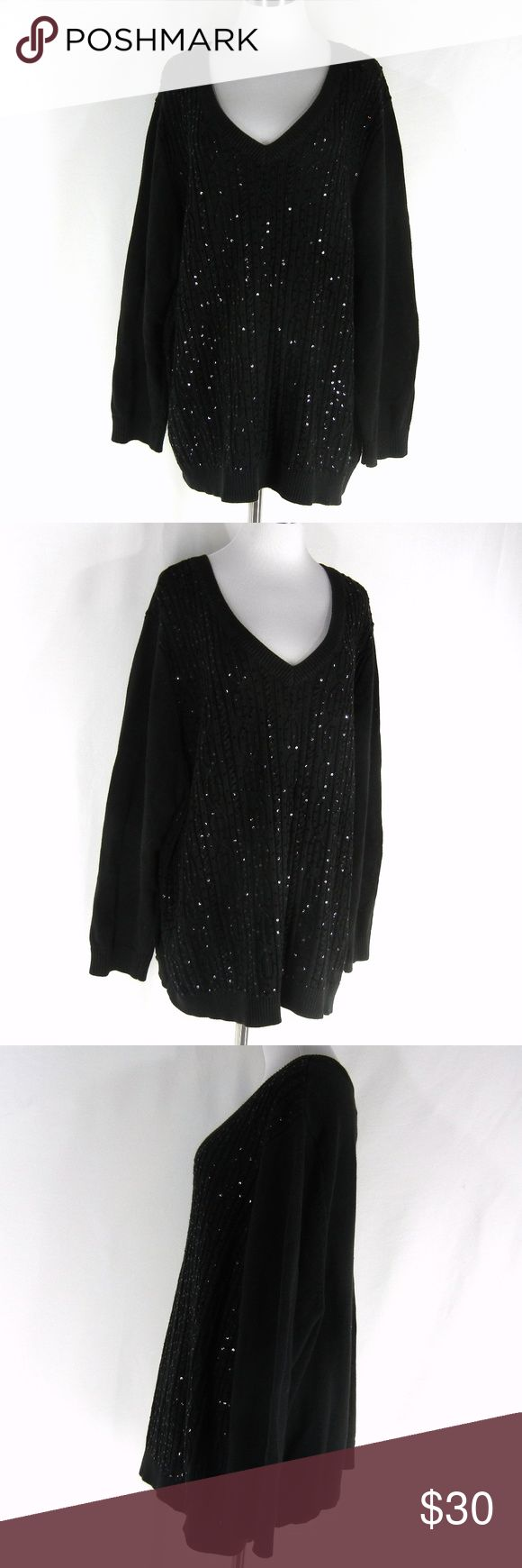 """THE QUACKER FACTORY Sequins Tunic Sweater 3X THE QUACKER FACTORY sparkly sequins tunic sweater in solid black.  Vee neckline, cable knit design.  Excellent condition with no flaws.  100% cotton, machine wash.  Tagged size 3X, please check measurements to determine fit.  56"""" chest, 56"""" waist, 52"""" hips, 29"""" long.  Put your sparkle in motion--this sweater shimmers as you move! The cable knitting on the front of the top is encrusted with delightful tonal sequins. Quacker Factory Sweaters V-Necks"""