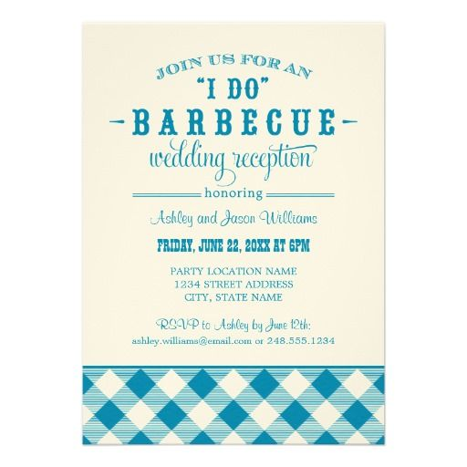 "Wedding Reception Invitation | ""I Do"" BBQ"