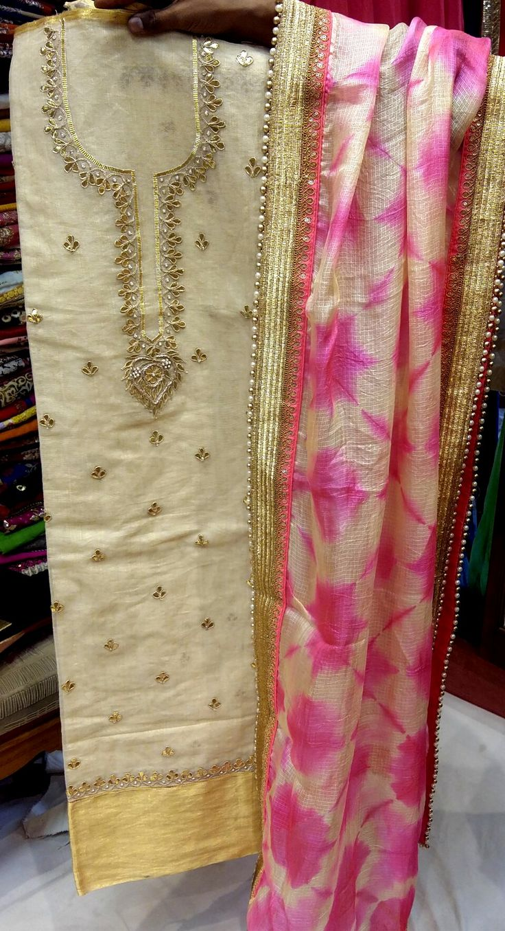 Jute cotton gota kurtas blended with silk kota tie and dye duppatas