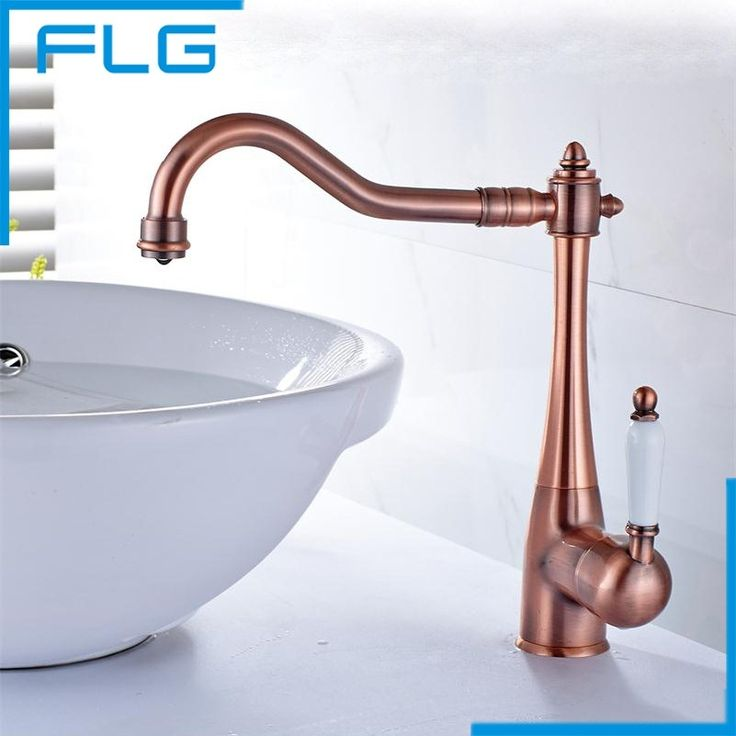 57.70$ Watch now - http://alieoz.worldwells.pw/go.php?t=32703797534 - Kitchen Mixer Taps Red Bronze, Deck Mounted Single Handle One Hole Kitchen Tap, Antique Brass Kitchen Faucet