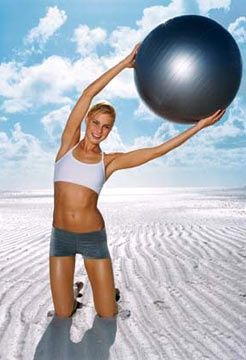 Stomach workouts with a stability ball