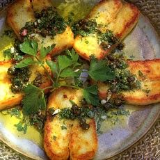 Fried Halloumi Cheese with Lime and Caper Vinaigrette from Delia Smith.  Fabulous taste and great for vegetarians and non-vegetarians. #DeliaSmith #halloumi