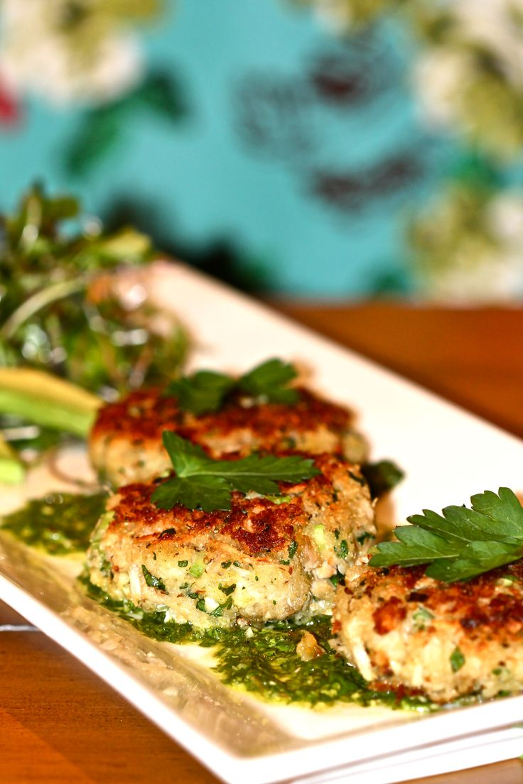 Crab Cakes with Lemon Cilantro sauce (added an egg to the recipe to hold everything together) Yum!