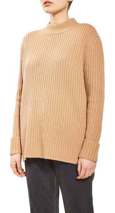cutout wool sweater by TOPSHOP Boutique. A kiss of cashmere softens a ribbed and roomy wool sweater with an open back oval for a little surprise.