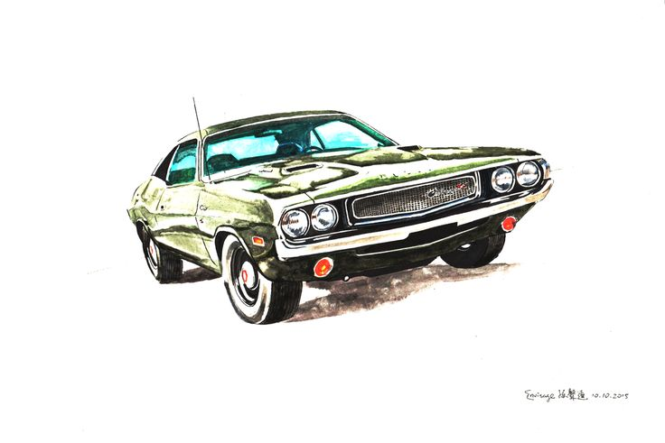 Dodge challenger olive green watercolour