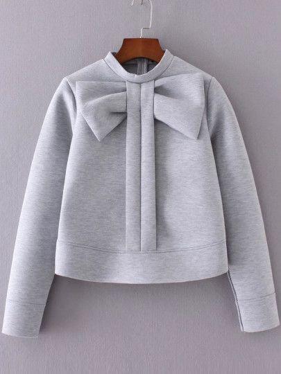 Sweat-shirt col rond orné de nœud papillon - gris                                                                                                                                                                                 Plus