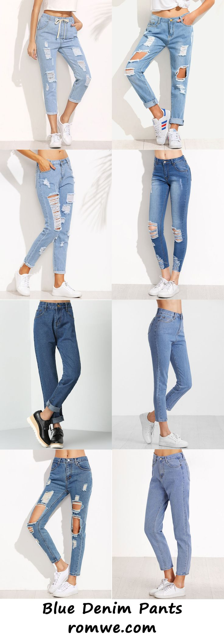 Fall Fashion - denim pants with crop tops from romwe. com