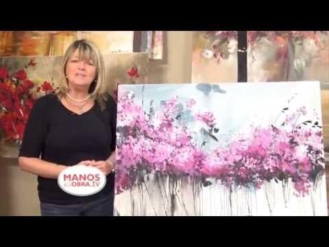 """Como pintar con acrílicos - Cuadro """"Flores en el jardin"""" - YouTube"""