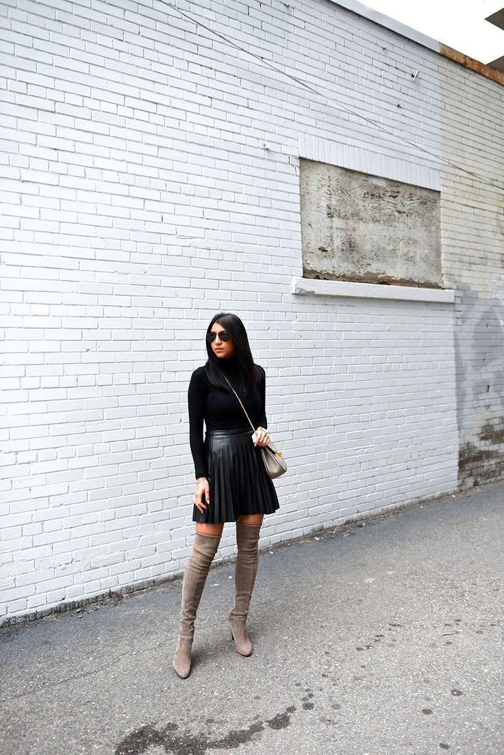 stuart weitzman highland grey boots j crew black leather skirt club monaco turtleneck chloe drew bag not your standard fashion blogger kayla seah