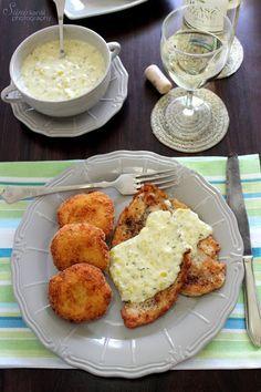 Sünis kanál: Roston sült csirkemell póréhagyma mártással, sajtos burgonyapogácsával