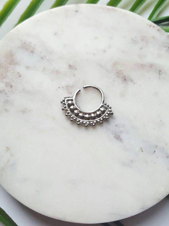 Septum cuff silver septum jewelry Indian nose ring septum