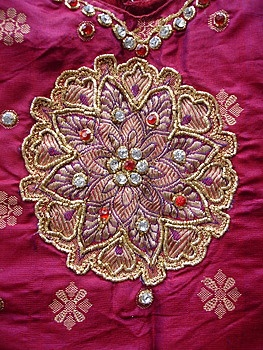 Embroidered pattu langa pavada plus embroidery fabulous embroidery