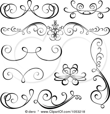 Royalty Free Vector Clip Art Illustration Of A Digital Collage Black And White Ornate Calligraphic Design Elements
