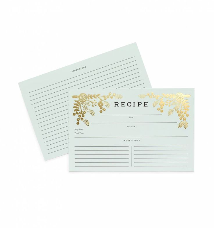 Golden Garden Package of 12 Illustrated Recipe Cards