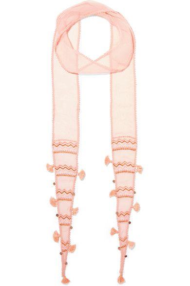 Chan Luu - Embellished Chiffon Scarf - Blush - one size