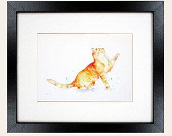 Fine art oorspronkelijke papier gesneden silhouet aquarel schilderij, dier, kat, kattenliefhebber, 10 x 8 inch