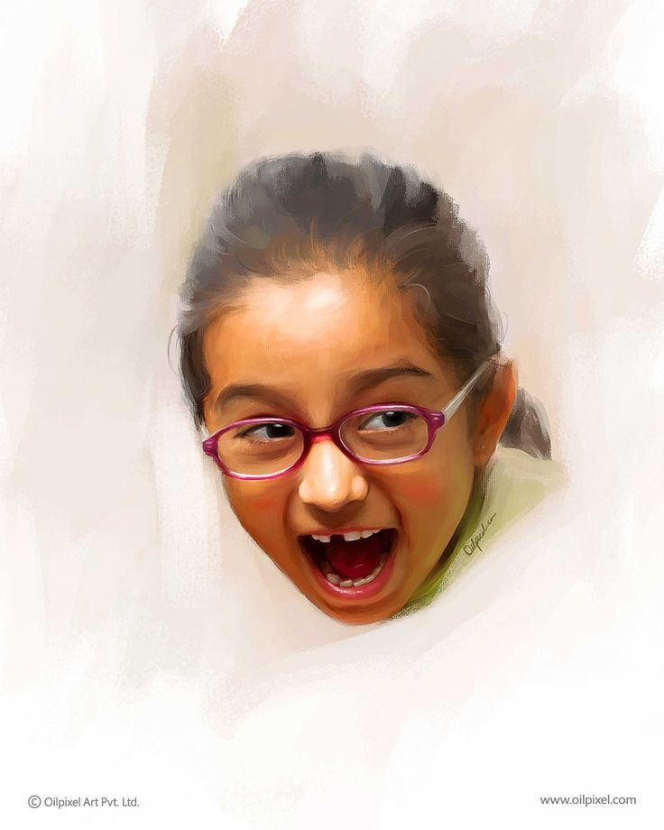 Digital painting of a girl by Oilpixel. Contact us to make such digital painting for your child & memorialize her childhood moment for years to come.