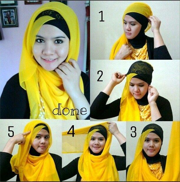 #hijabWearStyle#yellow#black ❤ Tutorial de Hijab