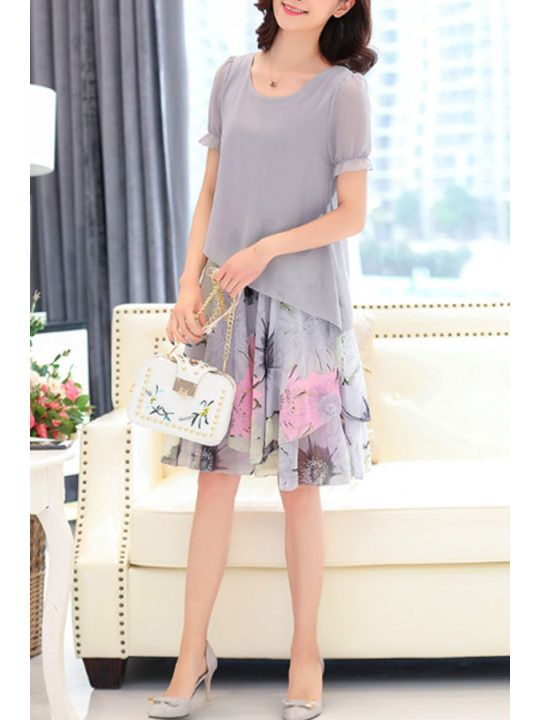 Round Neck Print Patchwork Puff Sleeve Skater Dresses - berrylook ... 95466813a