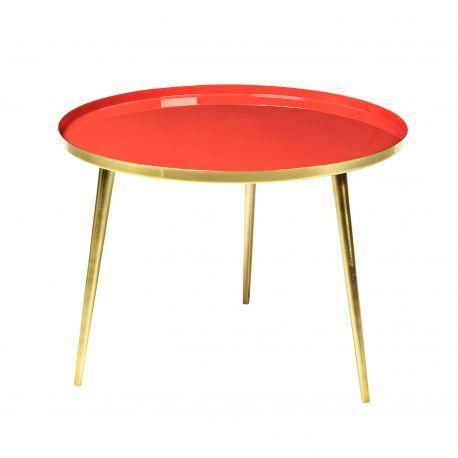 Table basse Ronde corail doré style vintage Jelva @brostecph