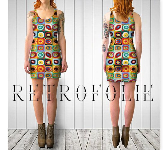 Colorful Fitted Dress, bodycon dress, tight fitted by retrofolie