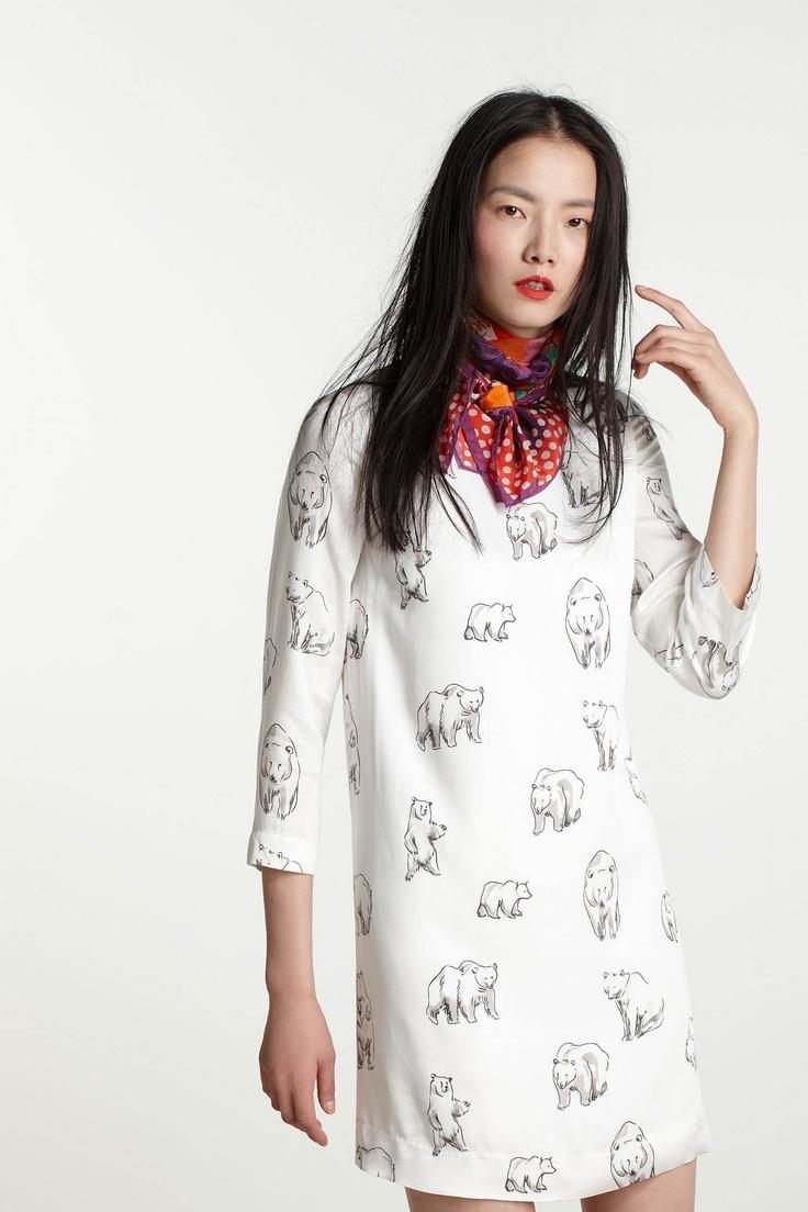 Leah Goren polar bear dress: Minis Dresses, Leah Reena, Polar Bears, Bears Minis, Reena Goren, Animal Prints, Leah Goren, Arctic Minis, Bears Dresses