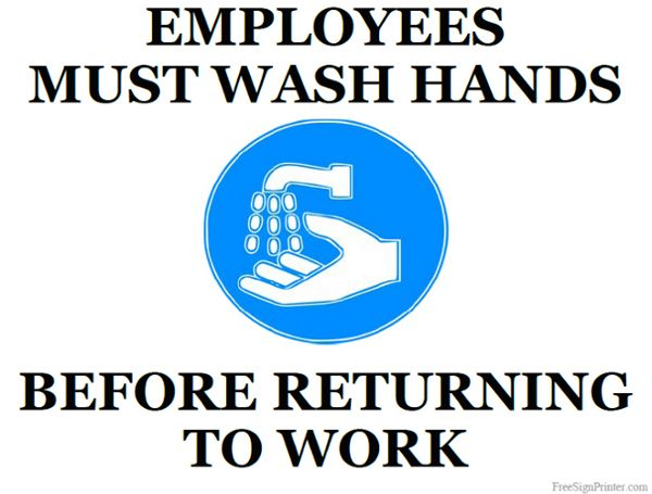 Printable Employees Must Wash Hands Sign Wash Hands Sign Wash