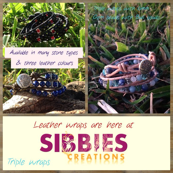 Triple Leather Wrap available at Sibbies Creations. On Facebook https://www.facebook.com/pages/Sibbies-Creations/145337405634171?ref=hl Free Shipping within Australia. Custom orders welcome. Secure Paypay payment options available.
