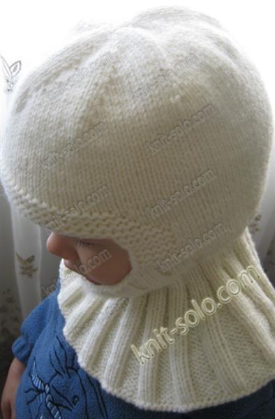 Шапка шлем круговыми спицами