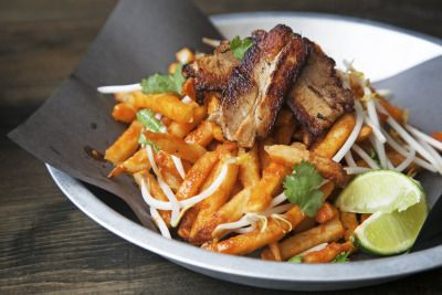 Pad thai fries!!! we added a little pork belly to this special plate :) Ole!