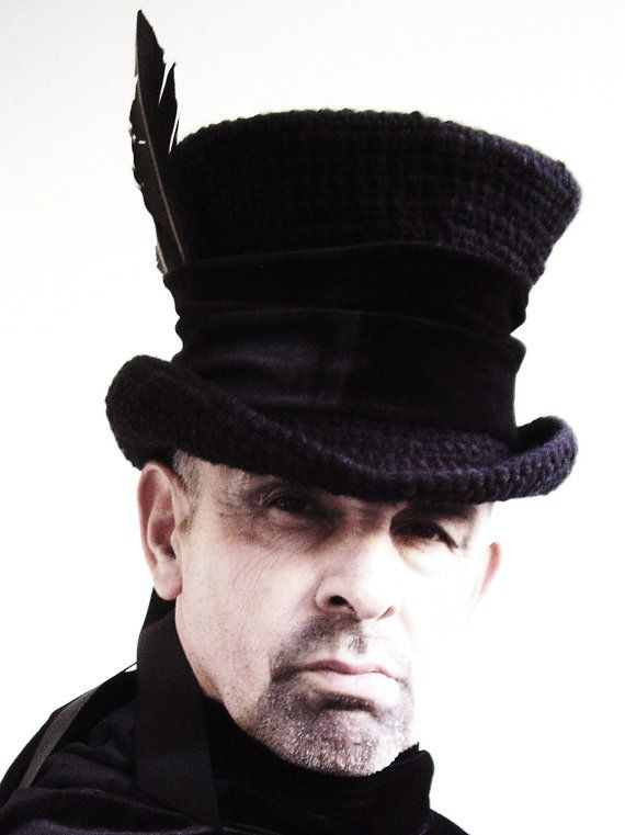 MR Raven Mad Hatter top hat    Made in my own workshop of the blackest yarn, fine velvet band with 3 black feathers and finished with broad grosgrain tails  https://www.etsy.com/uk/shop/Blackpin?ref=hdr_shop_menu | Shop this product here: spree.to/y6x | Shop all of our products at http://spreesy.com/idoitbigtime    | Pinterest selling powered by Spreesy.com