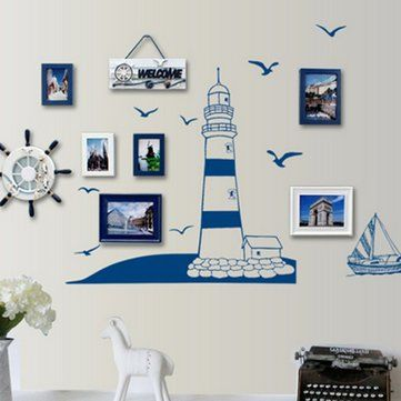 Mediterranean Style Removable Tower Sailboat Sea Gull Photo Home Art Wall Sticker Decal Decor Paper