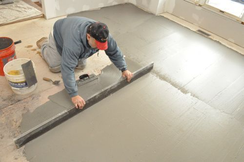 how to level a kitchen floor before adding ceramic tile great tips basement reno. Black Bedroom Furniture Sets. Home Design Ideas