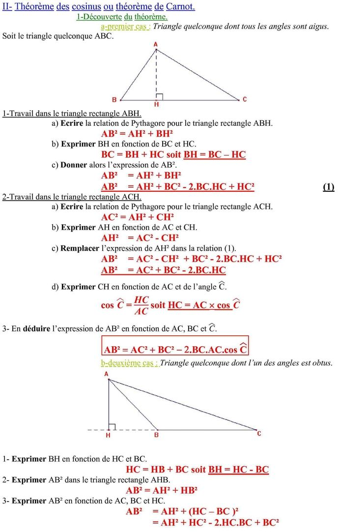 Relations métriques dans le triangle : cours de maths en ...