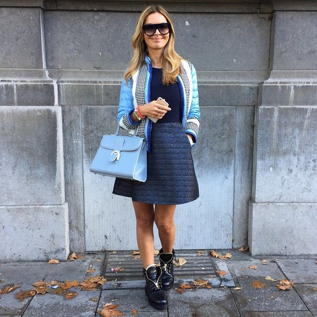 ByCamelia (FashionistaAC) @bycamelia Instagram photos | Websta   Day in #maje dress #balmain boots #delvaux bag #moncler jacket #celine sunglasses #meme bracelets (16 October 2014)