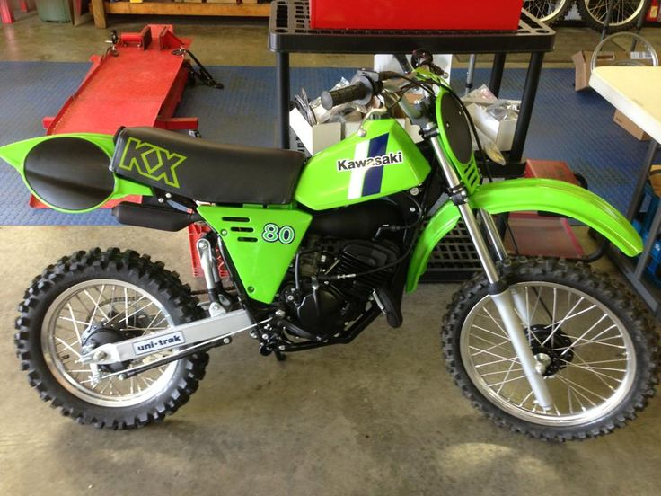 1982 KX 80. Yeah this was my dream bike as a kid. I remember going to the show grounds one year and seeing the new Kwaka models all lined up together, and I spotted one of these!! Well, I've always loved these model Kawasaki's ever since. I wanted one of these so bad, I dreamt about it for months!!