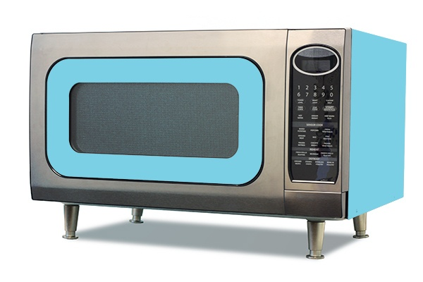 """Available in all of the great Big Chill colors with or without legs, The Big Chill Microwave features sensor settings - adjust the right time and power levels automatically for 9 popular microwave favorites including popcorn and fresh vegetables. Keep Warm Plus - lets you keep hot foods hot up to 30 minutes after cooking is finished. Three Reheat Options Four Defrost Options Kitchen Timer Built-in Night Light 16"""" Diameter Turntable Shown in Beach Blue."""