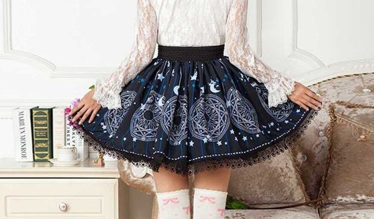 Cosplay Gothic Vintage Lolita Magician Circle Skirt with moon stars pattern #Unbranded #LOLITA