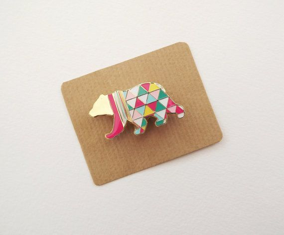Geometric Bear Brooch - Neon Enamel Metal Pin Badge