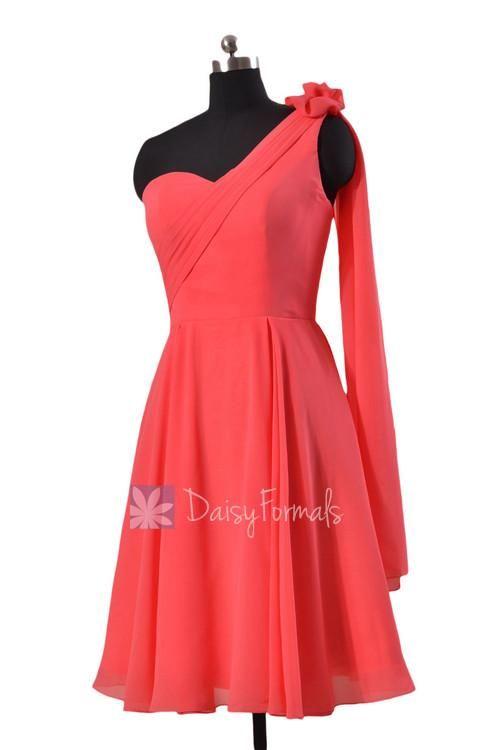 Short Coral Chiffon Dresses