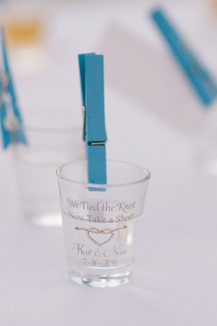 Shot glass escort card holders for a destination wedding (Shenko Photography)