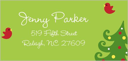 Address Labels: Merry Tree Memories, Square, Green