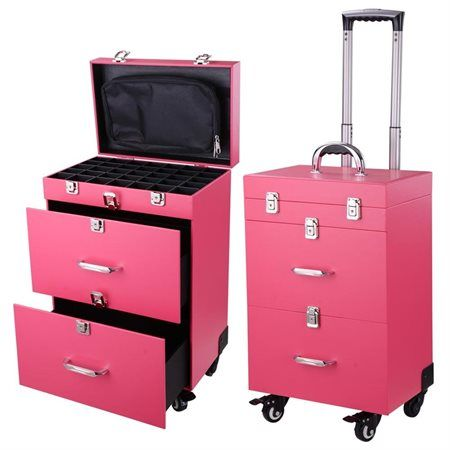"Pink 14x9x20"" PVC 4-Wheel Rolling Makeup Case Nail Drill Cosmetic Artist Beauty Salon Trolley - Rakuten.com"